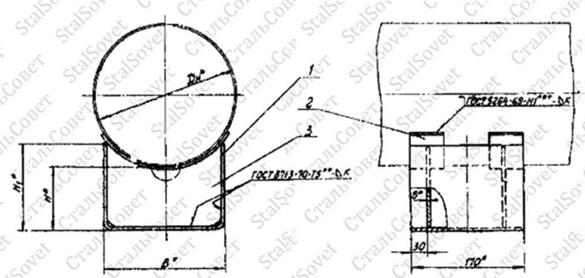 Dн.  Опора скользящая типа Т13 для трубопроводов.  194-630мм.