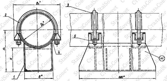 Опора скользящая диэлектрическая типа Т18 для трубопроводов Dн 377-1420мм.